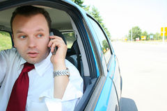 Businessman in car Royalty Free Stock Photos