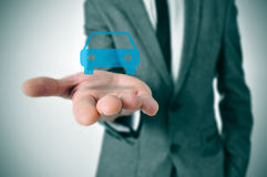 Businessman with a car icon Royalty Free Stock Images