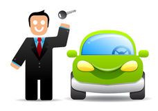Businessman with a car key stock illustration