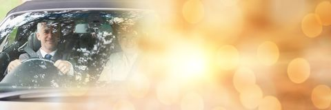 Businessman in car with lights transition effect Royalty Free Stock Photo