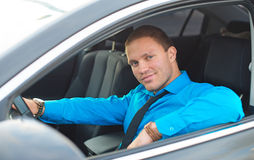 Businessman in the car. Royalty Free Stock Photography