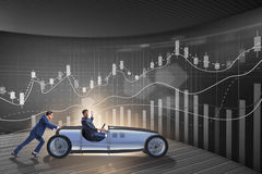 The businessman car pushing in teamwork concept Royalty Free Stock Photography