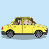 Businessman on car share concept. Funny vector style royalty free illustration