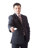 Businessman with card. Stock Photos