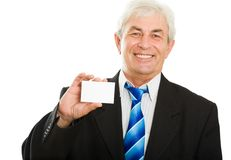 Businessman with card Stock Images