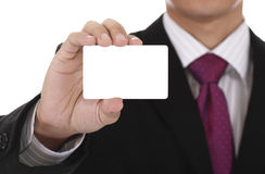 Businessman with card Stock Photo