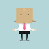 Businessman with a cardboard box on his head. Vector illustration Royalty Free Stock Photos