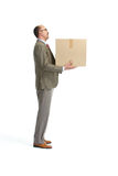 Businessman and a cardboard box Stock Photo