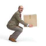 Businessman and a cardboard box. On a white background Stock Image