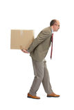 Businessman and a cardboard box. On a white background Stock Photo