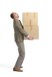 Businessman and a cardboard boxs Stock Photos