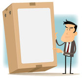 Businessman And Cardboard Delivery Royalty Free Stock Photos