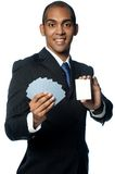 Businessman With Cards Royalty Free Stock Images