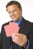 businessman cards holding playing Στοκ Εικόνες