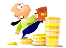 Businessman Career. Klerk lifted on the career ladder. A man strides on the steps of gold coins Stock Photo