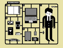 Businessman career and accessories in figure style. royalty free illustration