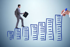 The businessman in career progress concept Stock Images