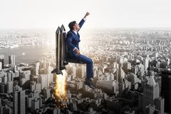 The businessman in career progression concept Stock Images
