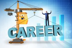 The businessman in career progression concept with crane. Businessman in career progression concept with crane royalty free illustration