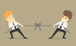 Businessman in career race. Two businessman fighting in the tug. Of war  .VECTOR Stock Images