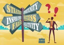 Businessman at Career Sign Post Dilemma. Stock Images