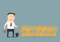 Businessman cares about invested money. To new project with watering can and shovel, for investment strategy or dividends theme concept Stock Photography