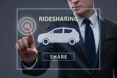 The businessman in carpooling and carsharing concept royalty free stock photo