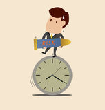 Businessman carry bomb and stand on the clock Royalty Free Stock Photo