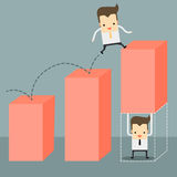 Businessman carry a chart going up. Businessman carry a pink chart going up Royalty Free Stock Image