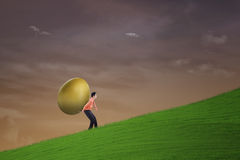 Businessman carry golden egg on steep hill Stock Photos