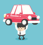 Businessman carry a heavy car. Eps.10 Royalty Free Stock Image