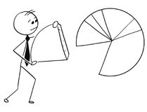 Businessman Carry Piece of Pie Chart Graph Royalty Free Stock Photos