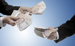 Businessman carry Thai money for invest, Fund management Stock Image