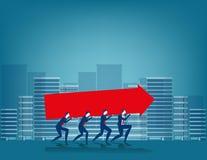Businessman carrying arrow sign. Concept business illustration Stock Photos