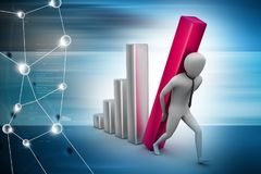 Businessman carrying  the big column of the diagram. 3d illustration of  businessman carrying  the big column of the diagram Royalty Free Stock Image
