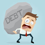 Businessman carrying a big debt rock Stock Images