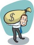 Businessman carrying big moneybag Stock Photos