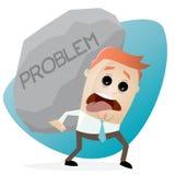 Businessman carrying a big problem rock Stock Photos