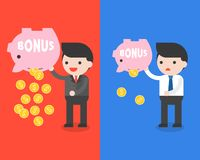 Businessman carrying bonus piggy bank and gold coins, saving mon vector illustration