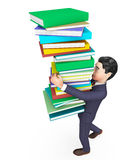 Businessman Carrying Books Represents Trade Corporate And Studying Royalty Free Stock Image