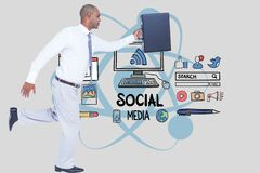 Businessman carrying briefcase while running against social media icons royalty free illustration