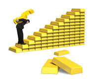 Businessman carrying bullion on gold stairs Royalty Free Stock Images