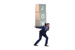 The businessman carrying the burden of his job Stock Images