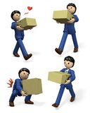 A businessman carrying a cardboard box. A set of 4 illustrations. 3D illustration Stock Photography