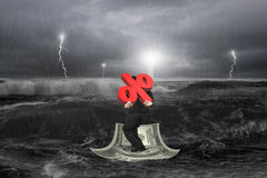 Businessman carrying 3D percentage symbol on money boat with sto Royalty Free Stock Photos