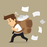 Businessman carrying documents, work hard Royalty Free Stock Images