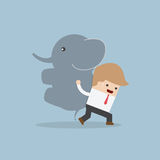 Businessman carrying elephant, Leadership concept Stock Images