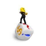 Businessman carrying gold Euro symbol balancing on dice Stock Photos