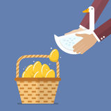 Businessman carrying goose with golden egg into basket Royalty Free Stock Images