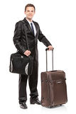 Businessman carrying his laptop in a shoulder bag Stock Photography